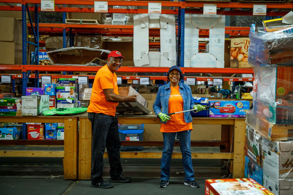 Volunteers at World Vision's North Texas warehouse