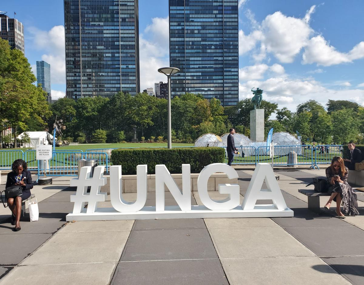 #UNGA sign at the 2019 meeting in New York City.