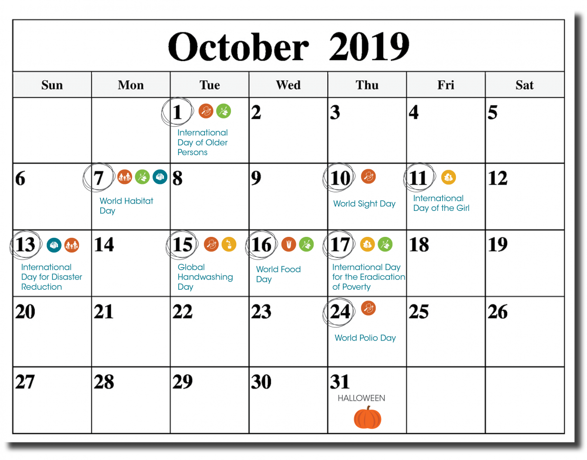 October calendar with observance days