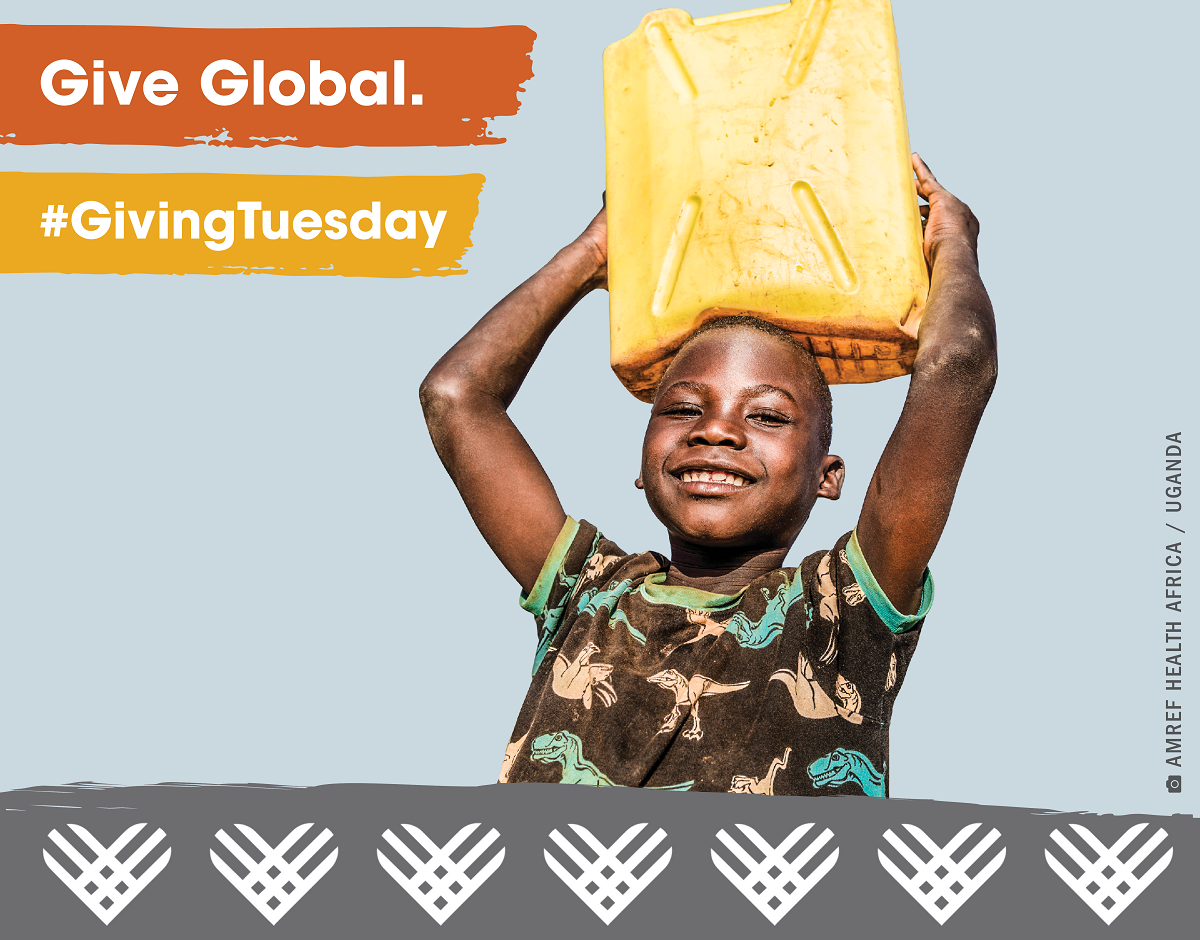 boy holding jerrycan of water with text Give Global, Giving Tuesday