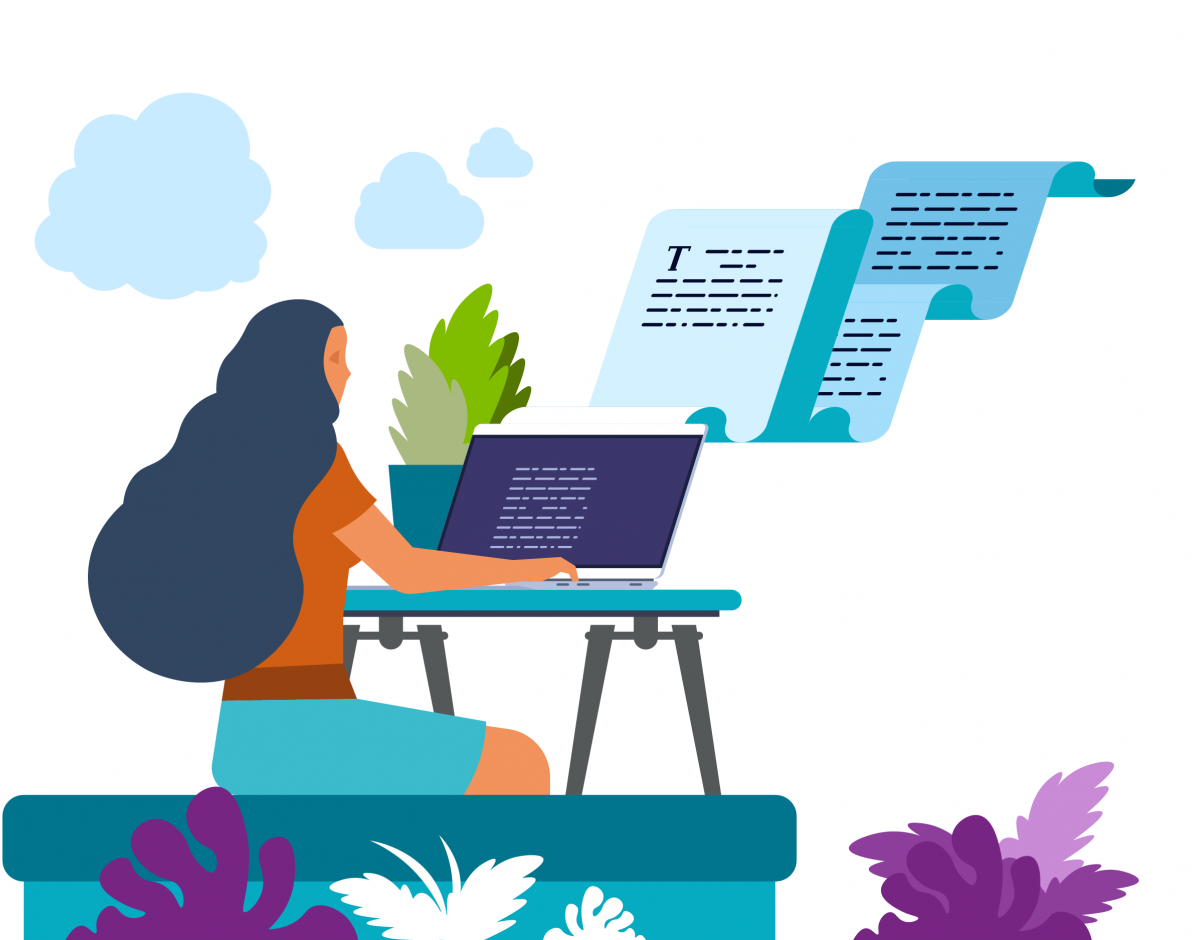 Graphic of a woman working on a laptop surrounded by plants, with a script coming out of the screen.