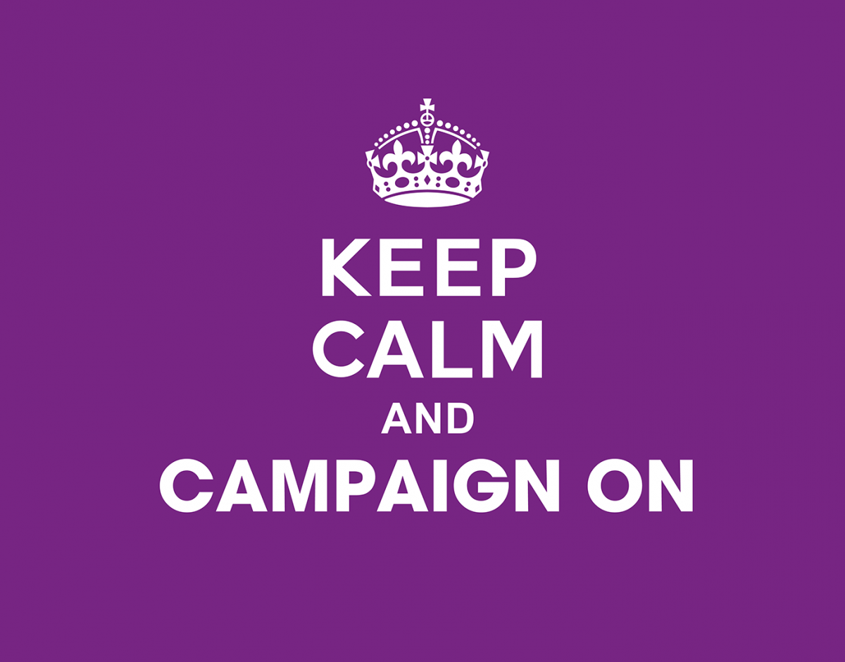 Crown icon on purple background. Keep calm and campaign on.