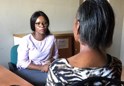 Lerato meets with GCBS social worker Thando Ngeleka.
