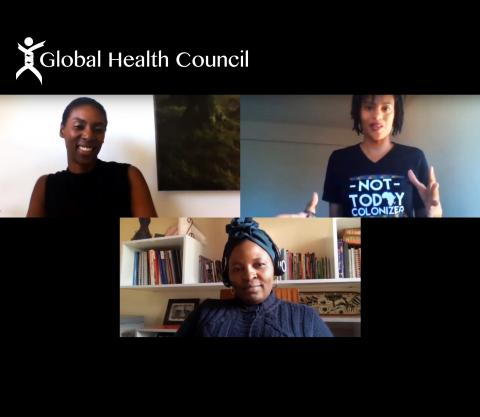 Loyce Pace, Angela Nguku and Kadi Toure during a video call for Black Voices in Global Health.
