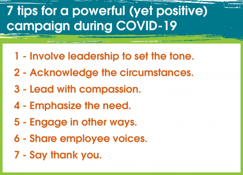 7 key tips for a powerful (yet positive) campaign during COVID-19: 1 Involve leadership to set the tone 2 Acknowledge the circumstances 3 Lead with compassion 4 Emphasize the need 5 Engage in other ways 6 Share employee voices 7 Say thank you