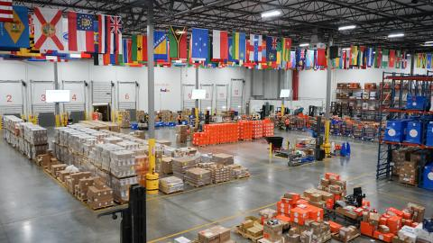 A view of a Direct Relief warehouse.