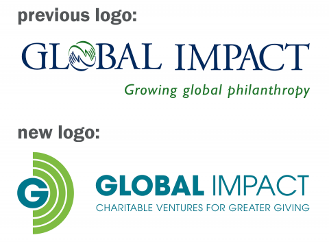 Global Impact's old logo compared to the new logo.