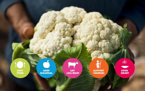 Hands holding a cauliflower. Text overlay reads SAVE FOOD, SHOP SEASONAL, EAT LESS MEAT, SUPPORT FARMERS, COOK SMART