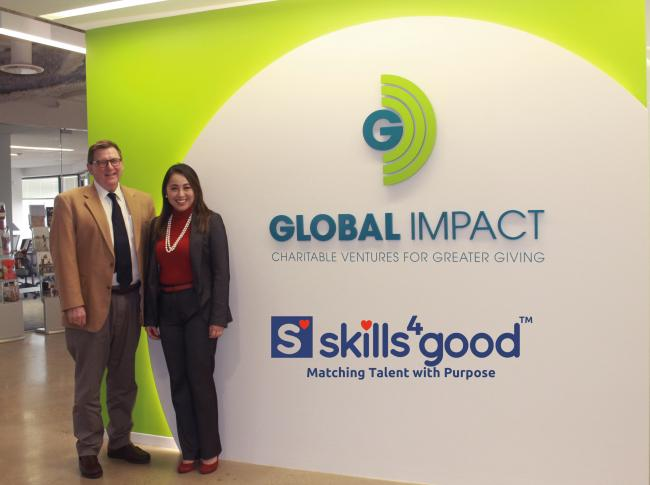 Scott Jackson, president and CEO of Global Impact, and Josephine Yam, CEO and co-founder of Skills4Good.