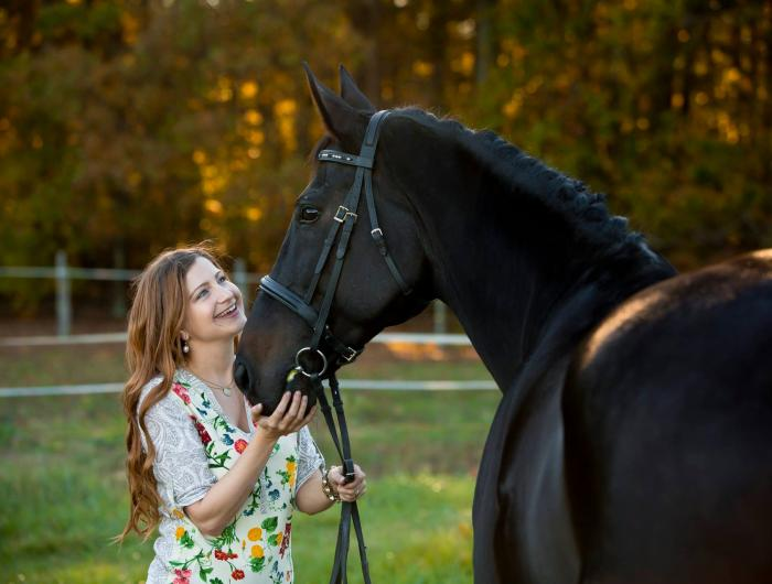 Mandy Huckins with her horse, Dancer