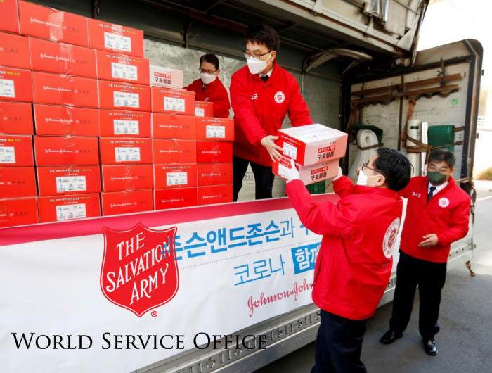 The Salvation Army World Service workers handle a shipment of medical goods in South Korea.