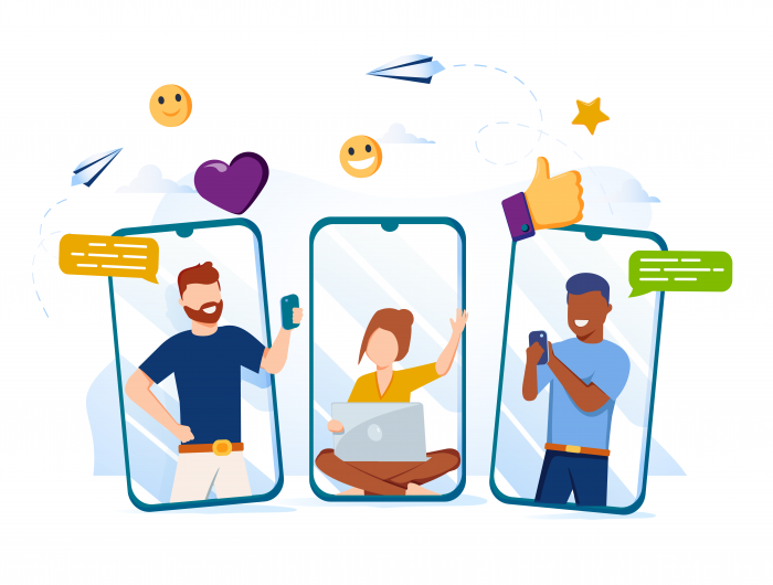 Icon of three people using cell phones and laptops to communicate.