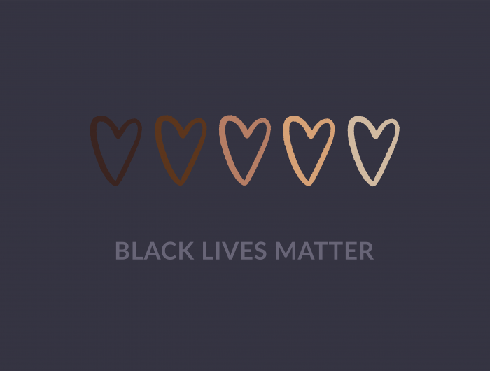 Graphic of 5 hearts in skin tones from white to black. Below reads BLACK LIVES MATTER.