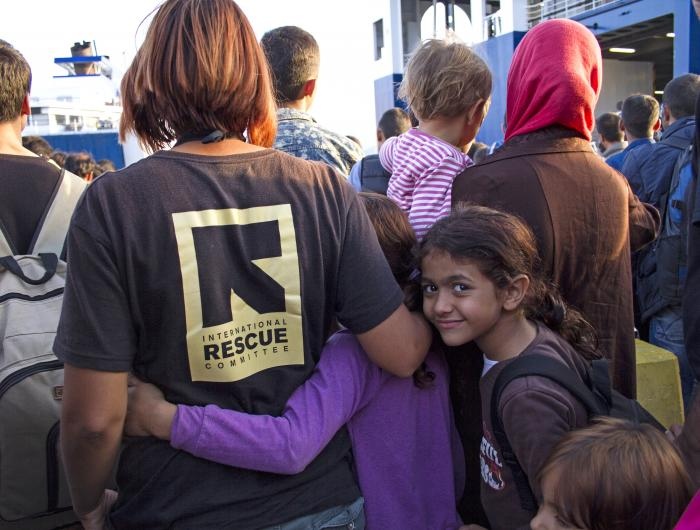 IRC Staff with refugees in Lasvos, Greece