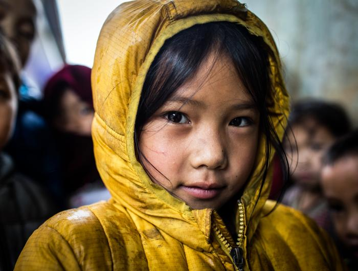 Girl at school in remote village in Ha Giang province