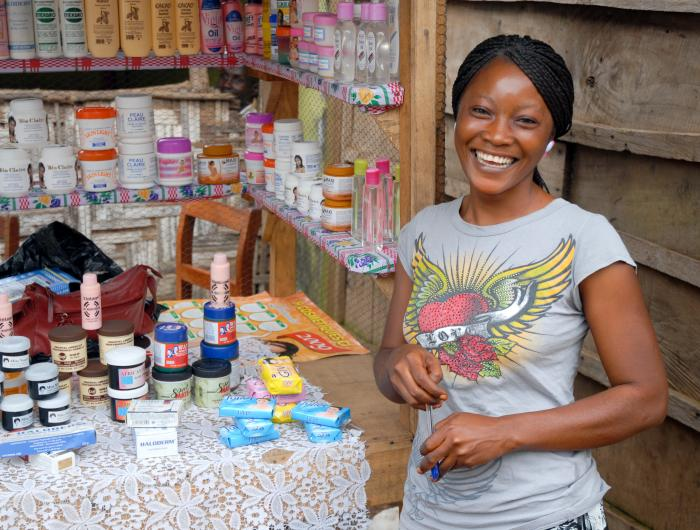 IRC Client at her store in Sierra Leone